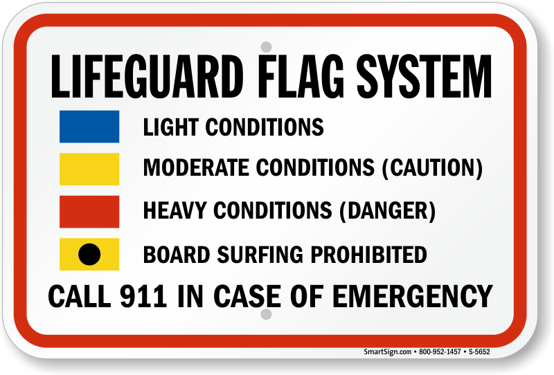 Lifeguard Flag System Sign Sku S 5652