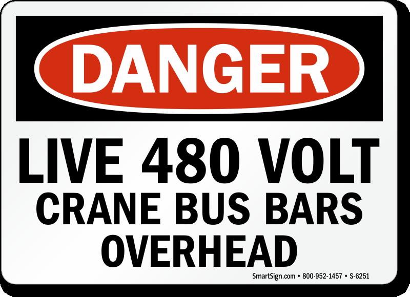 Live 480 Volt Danger Sign