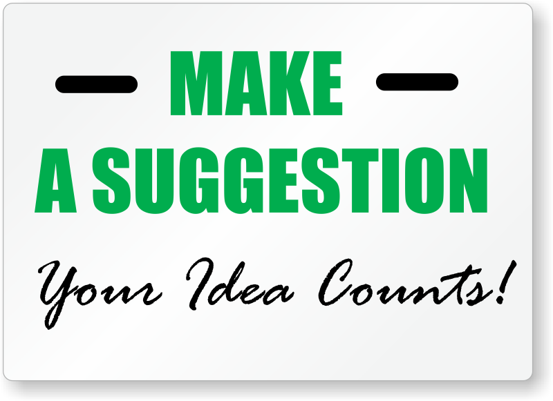 Suggestion Box Signs And Kits Free