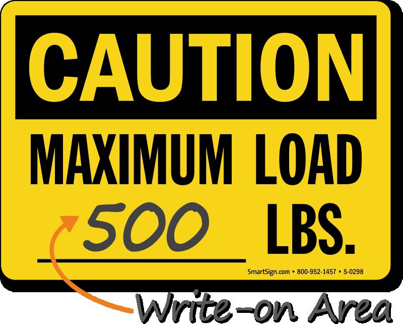 Caution Maximum Load Sign