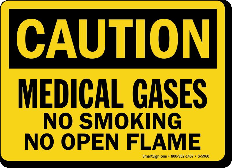 Medical Gases No Smoking OSHA Caution Sign
