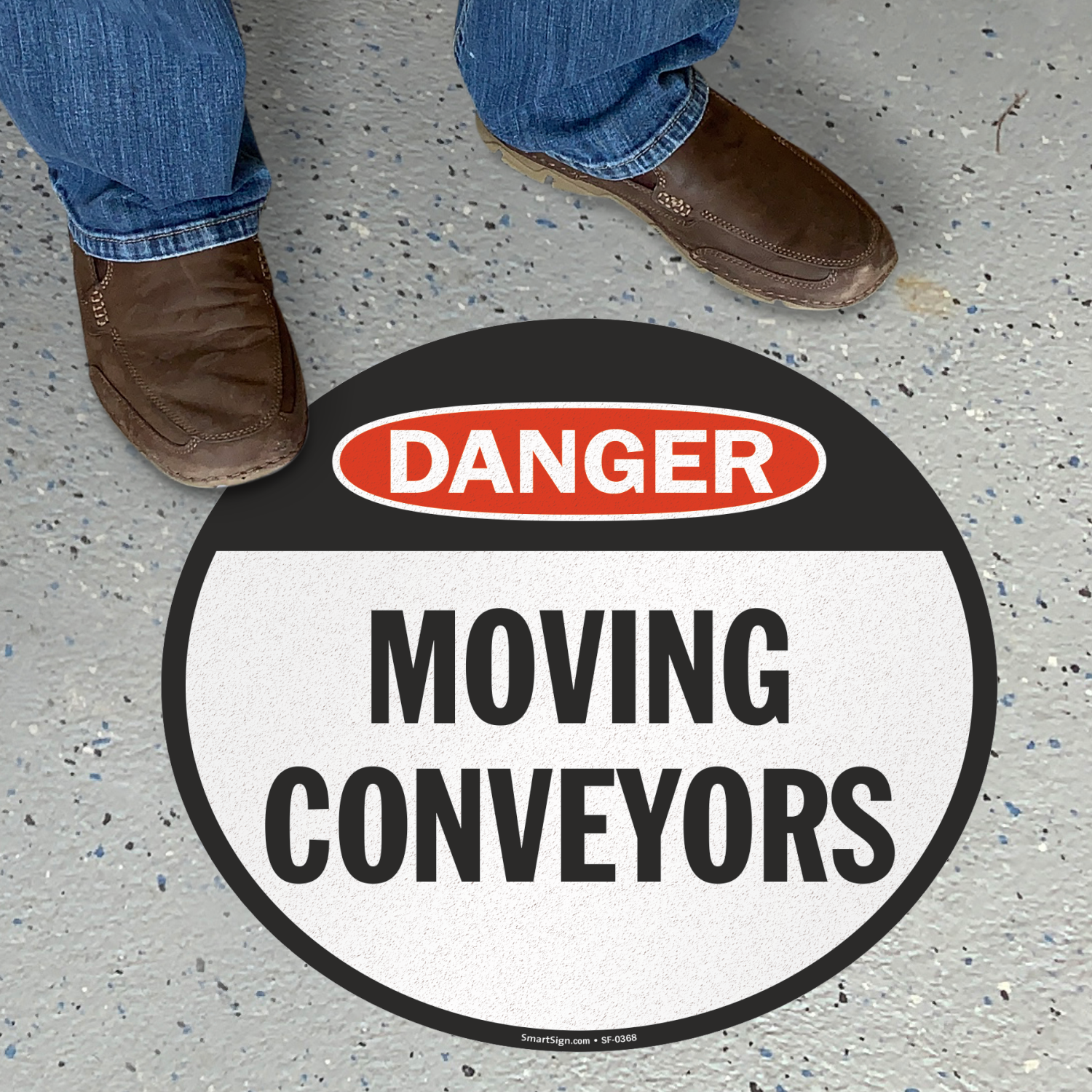 Circular Moving Conveyors Danger Floor Sign