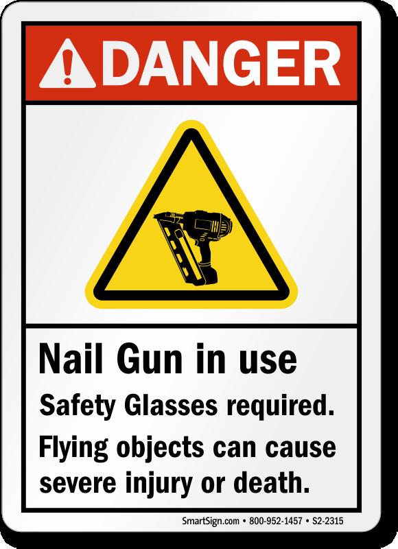 Nail Gun Safety Signs Nail Gun In Use Signs