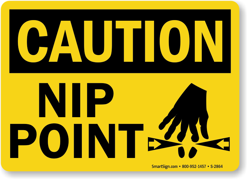 Caution Nip Point Sign With Graphic Black On Yellow Sku