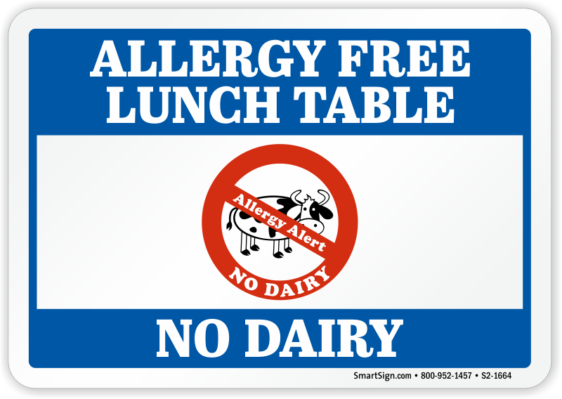 No Dairy Allergy Free Lunch Table Sign