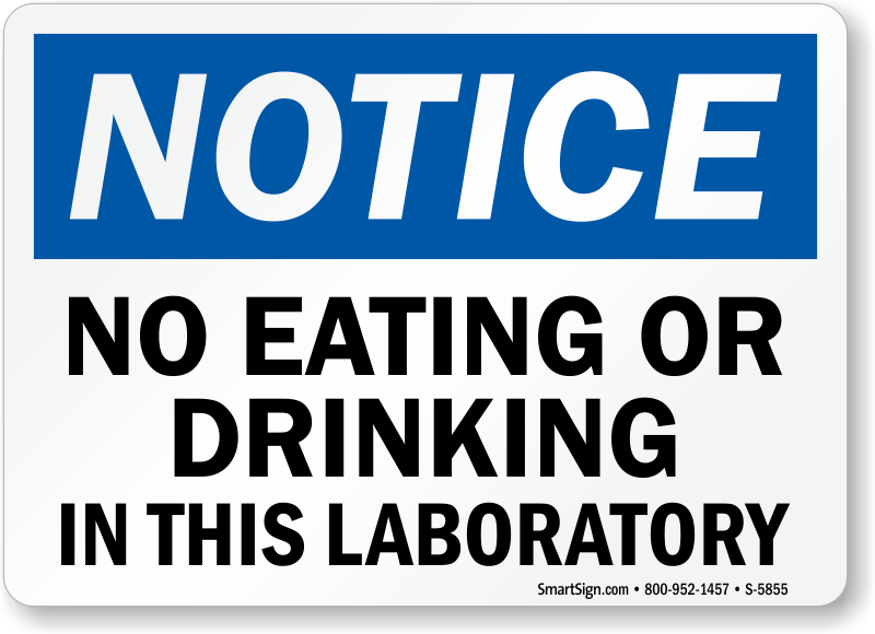 No Eating Drinking In Laboratory Notice Sign