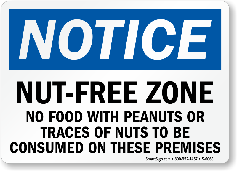 No Food With Peanuts Nut Free Zone Sign