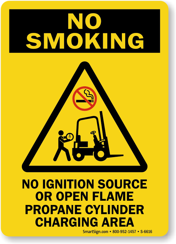 No Ignition Source Propane Cylinder Charging Area Sign
