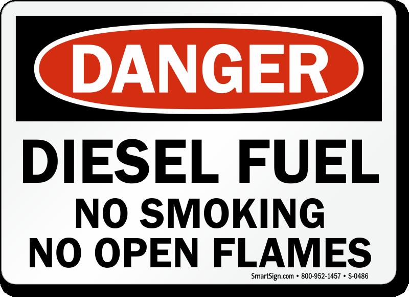Diesel Fuel No Smoking, No Open Flames Danger Sign, SKU: S ...