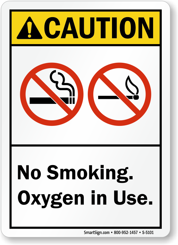 No Smoking Oxygen In Use ANSI Caution Sign