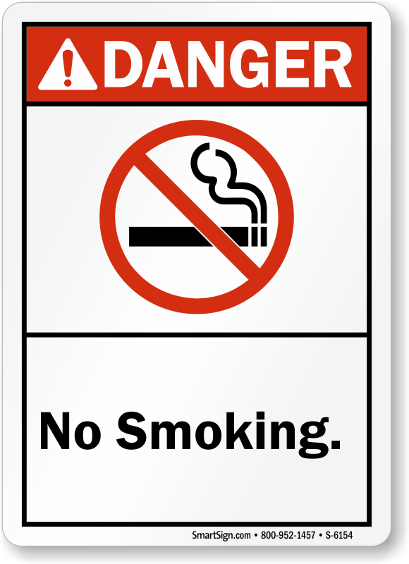 No Smoking ANSI Danger Sign