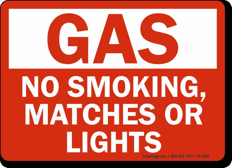 Gas No Smoking Matches Lights Sign