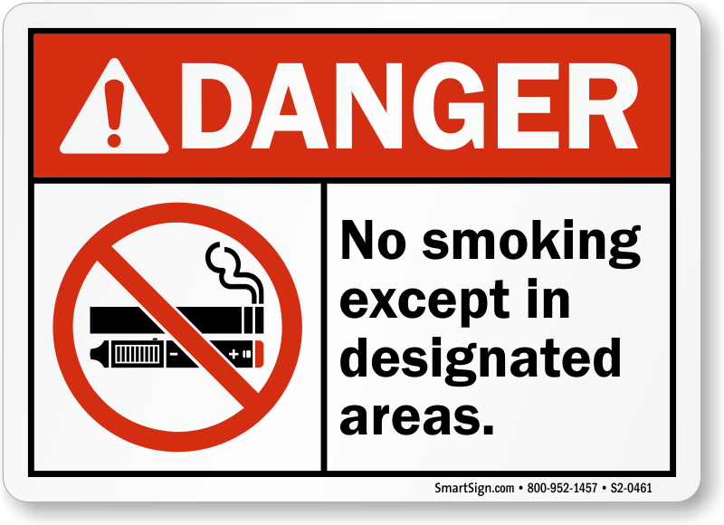 No Smoking Except Designated Sign With E-Cigarette Graphic