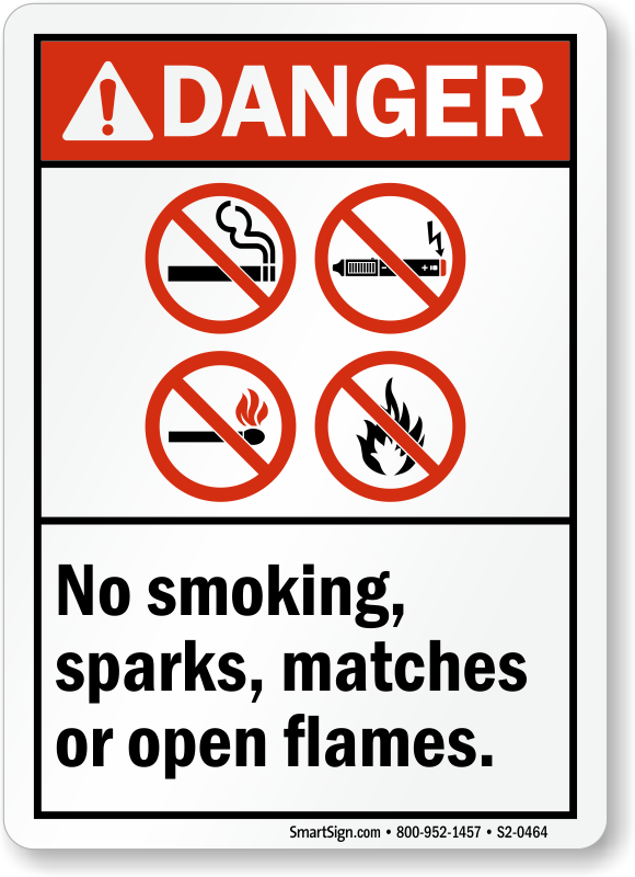 No Smoking, Sparks, Matches, Flames ANSI Danger Sign