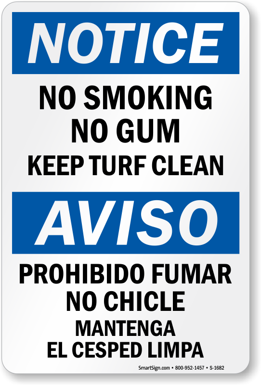 No Smoking No Gum OSHA Notice Sign