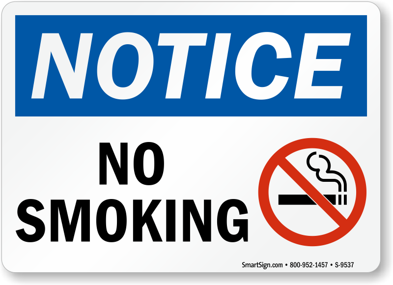 No Smoking With No Smoking Symbol Osha Notice Sign Sku S 9537