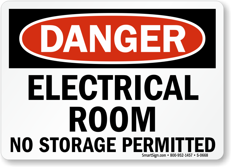 Electrical Safety Signs : Electrical room no storage permitted danger sign sku s
