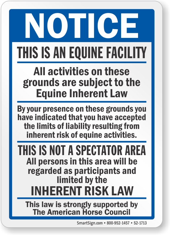 Equine Liability Signs Agritourism Signs State Law Signs