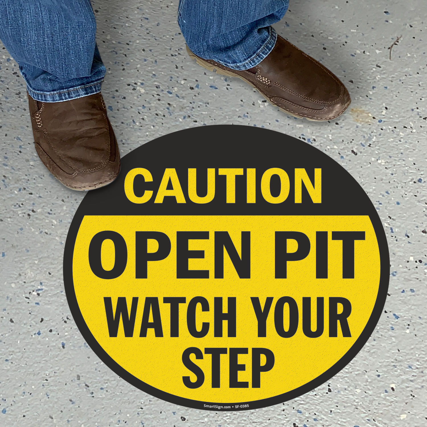 Open Pit Watch Your Step Anti-Skid Floor Sign