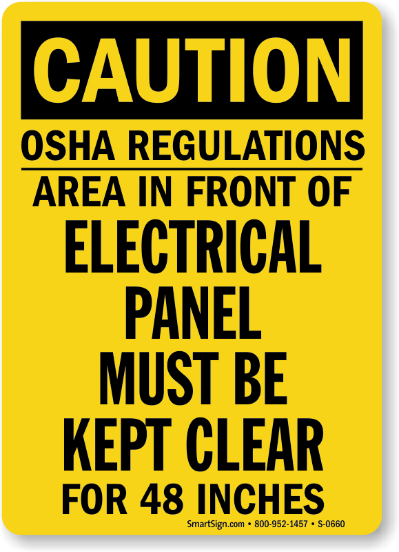 Caution Electrical Panel Clear OSHA Sign