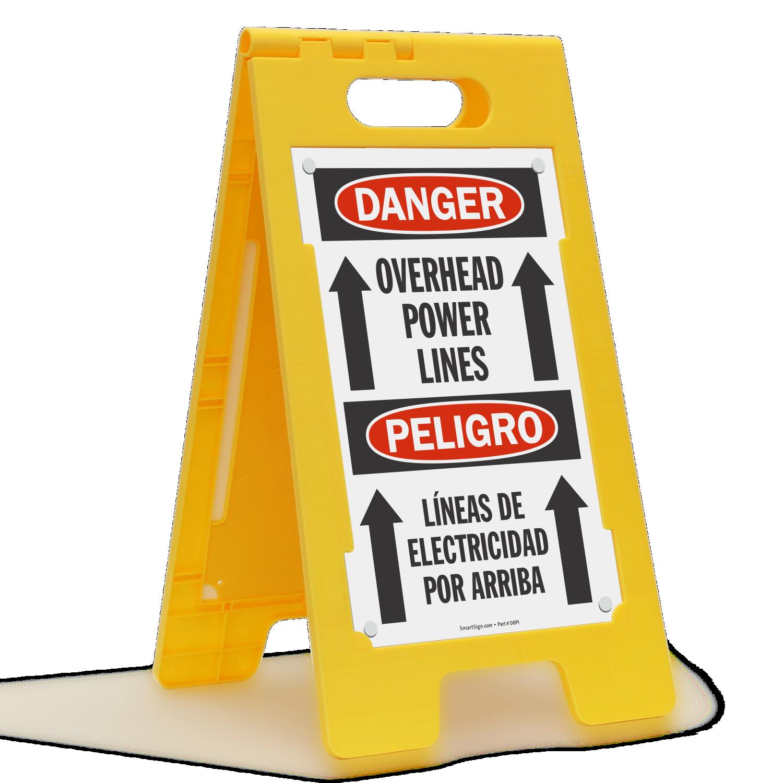 Overhead Power Lines Bilingual FloorBoss Sign