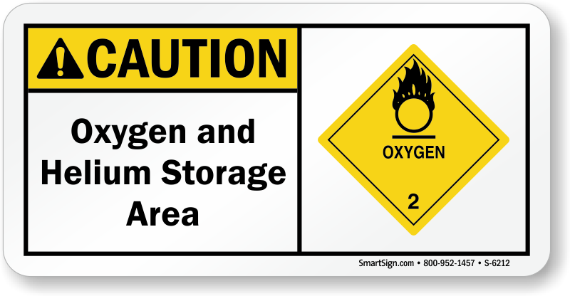 Oxygen Helium Storage Area ANSI Caution Sign