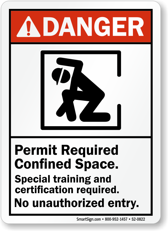 Permit Required, Confined Space, Training Certification Required Sign