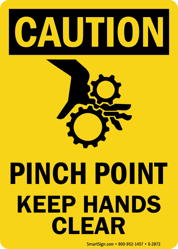 Osha Caution Pinch Point Keep Hands Clear Sign Graphic