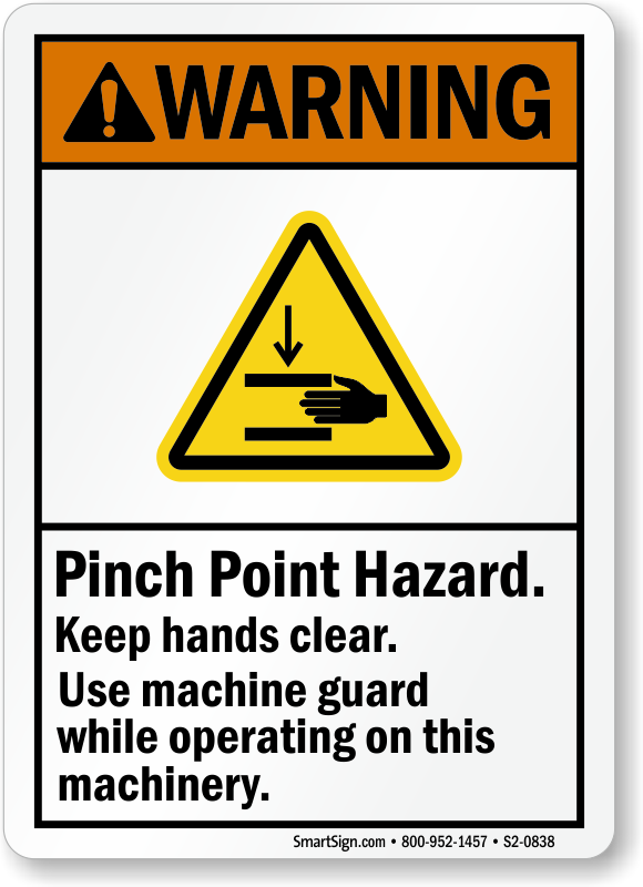 Pinch Point Hazard, Keep Hands Clear ANSI Sign