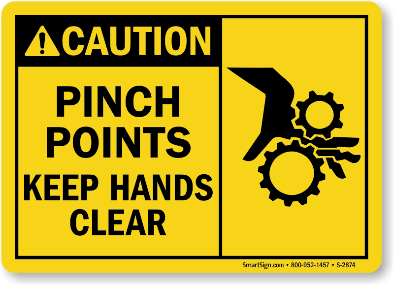 Pinch Points Keep Hands Clear - Caution Sign (Graphic ...