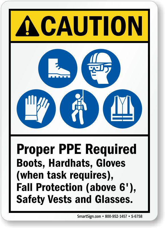 Caution Ppe Signs Osha Amp Ansi Ppe Caution Signs