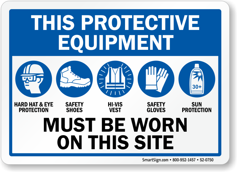 Wear Hard Hat Safety Shoes On Site Sign