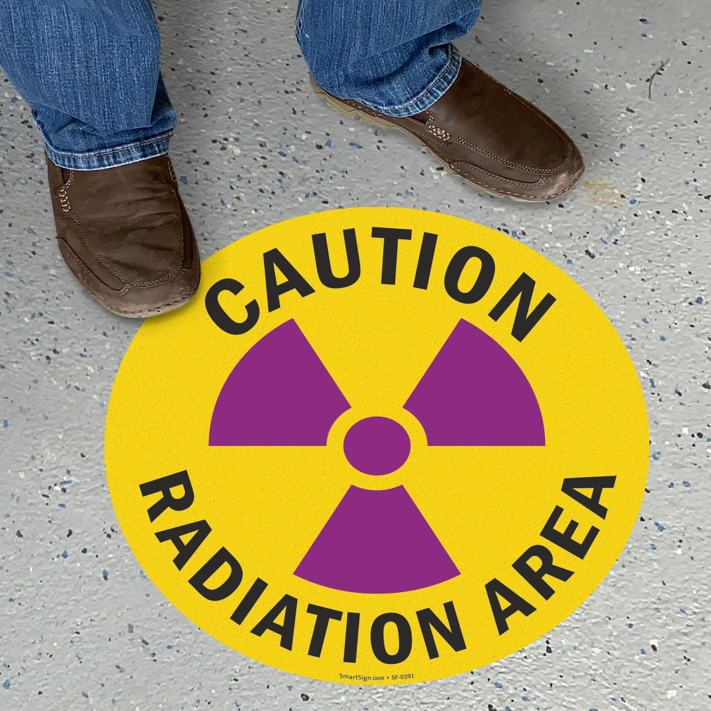 Caution Radiation Area Adhesive Vinyl Floor Sign