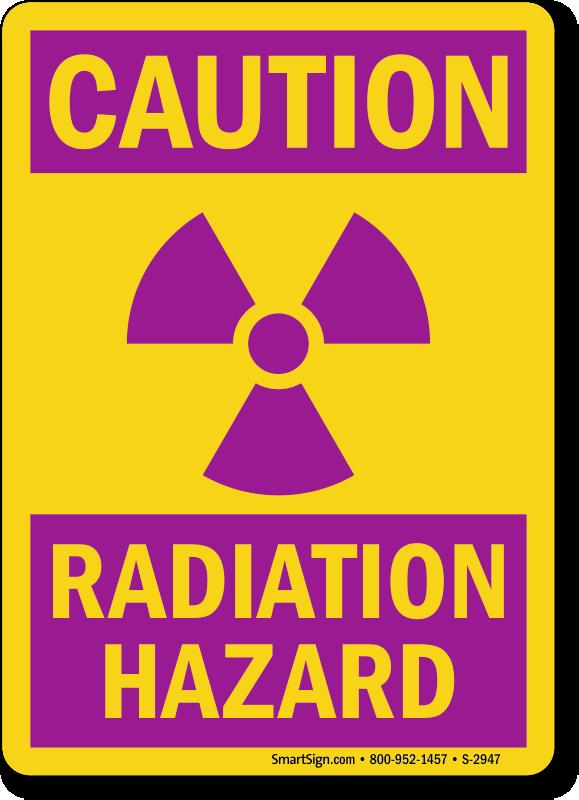 Polypropylene Material 50 Danger Radiation Risk Labels//Stickers 76 x 51mm
