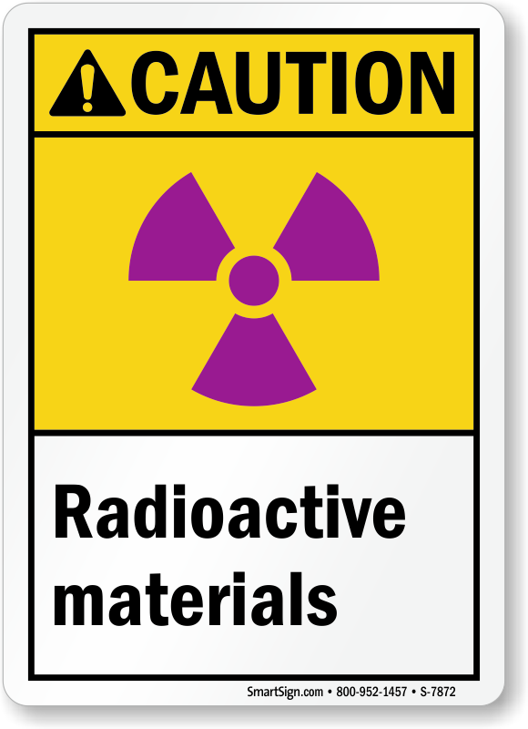 Radioactive Materials ANSI Caution Sign With Graphic
