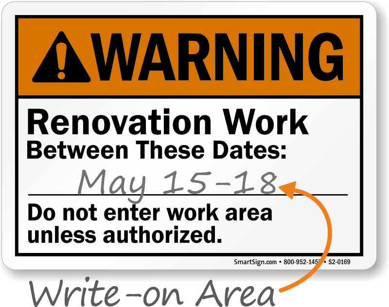 Renovation Work Area Signs | Renovation Work Safety Signs