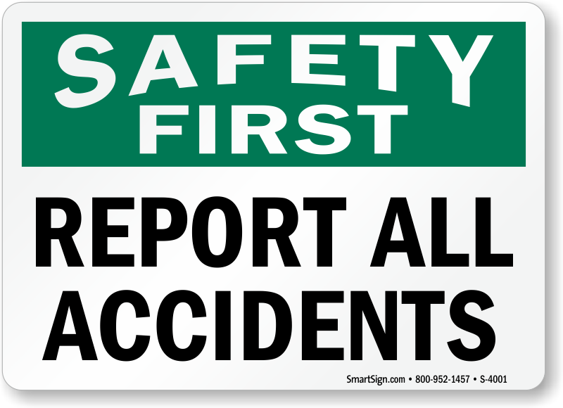 report accidents signs free shipping from mysafetysign