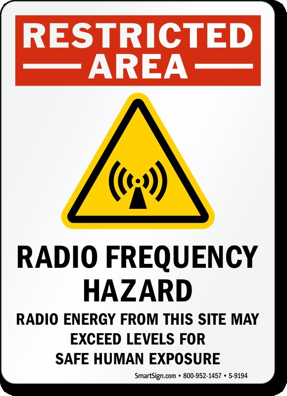 Restricted Area Radio Frequency Hazard - OSHA RF Sign, SKU