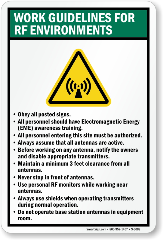 Work Guidelines For RF Environments Sign