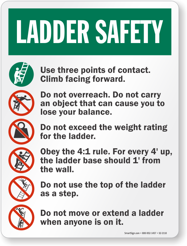 Safety instructions ladder safety sign sku s2 2110 for Ladder safety tips