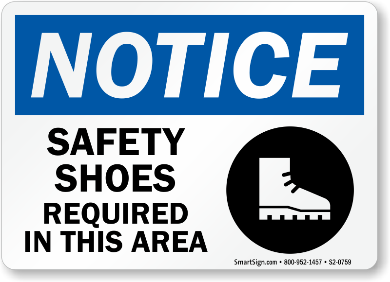 Safety Shoes Required In Area Sign