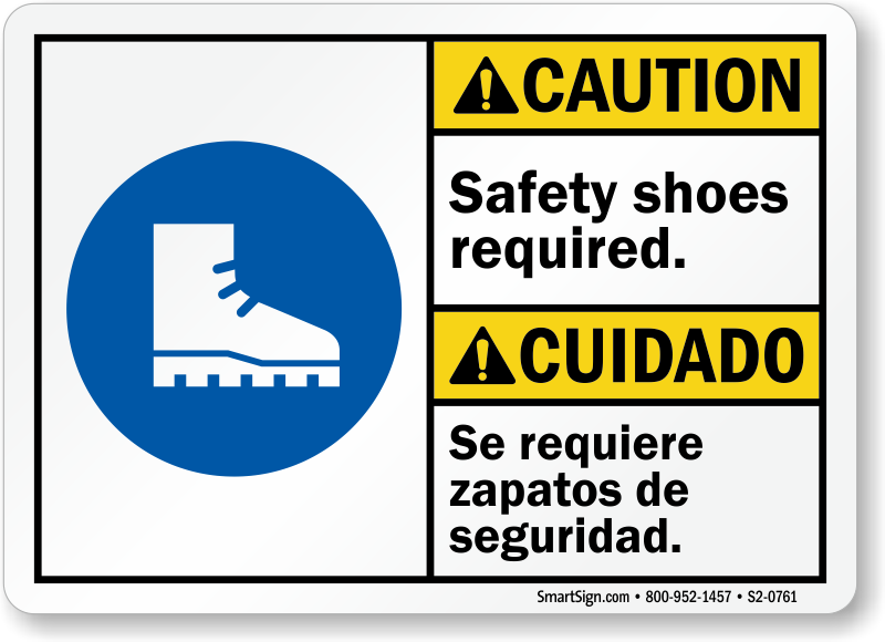 Safety Shoes Required Caution Bilingual Sign