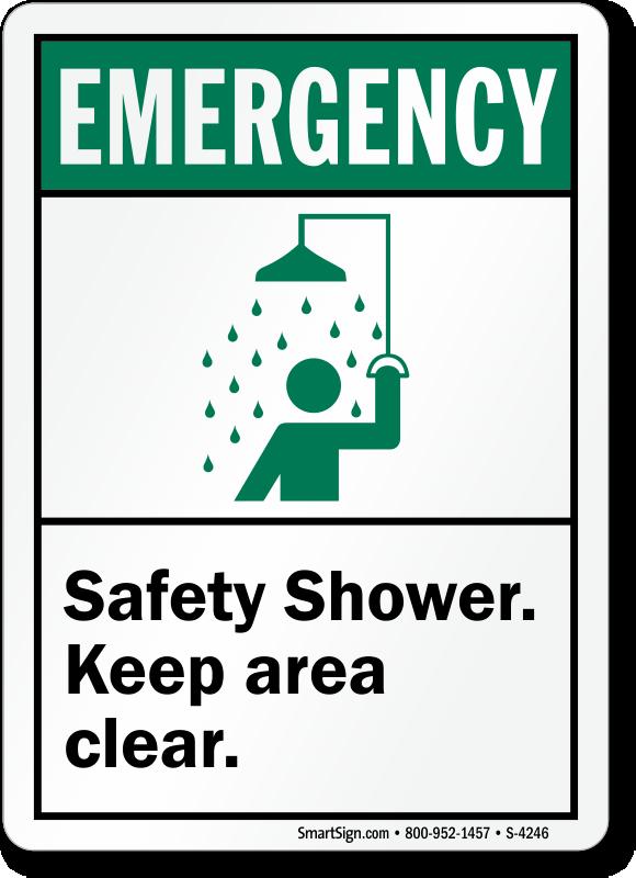 Safety Shower Keep Area Clear Ansi Sign Sku S 4246