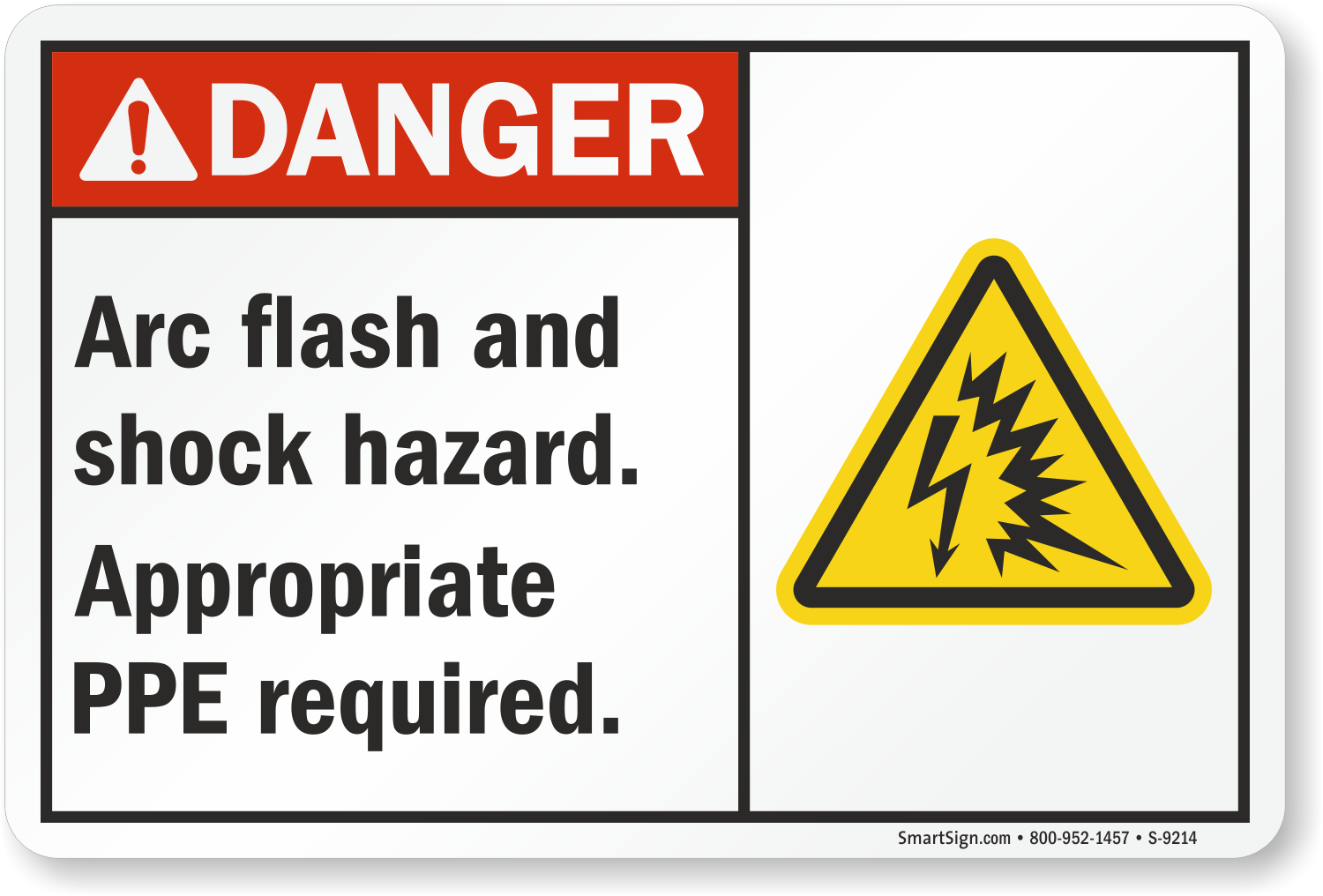 Arc Flash And Shock Hazard, PPE Required Sign