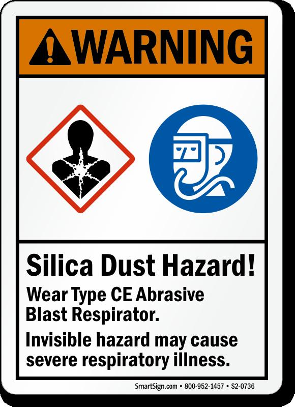 Silica Dust Hazard Wear Abrasive Blast Respirator Sign