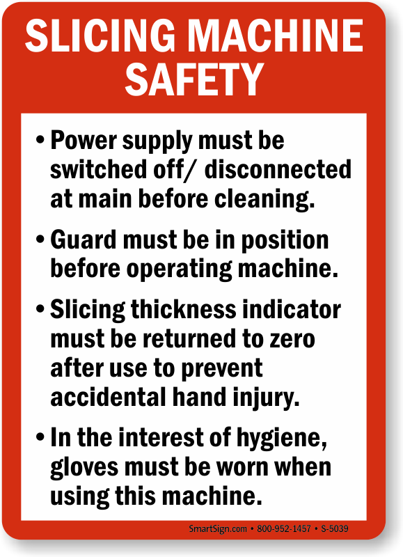 Slicing Machine Safety Guidelines Sign