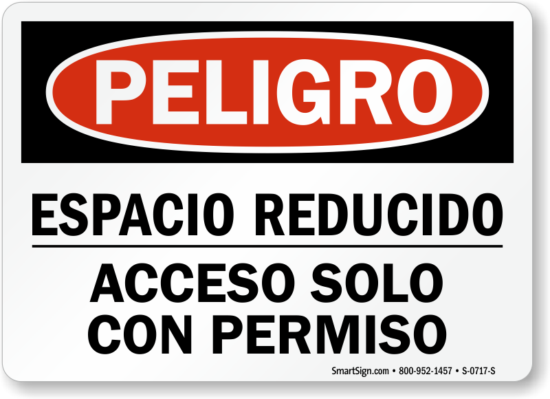Bilingual Confined Space Signs | Spanish Confined Space Sign