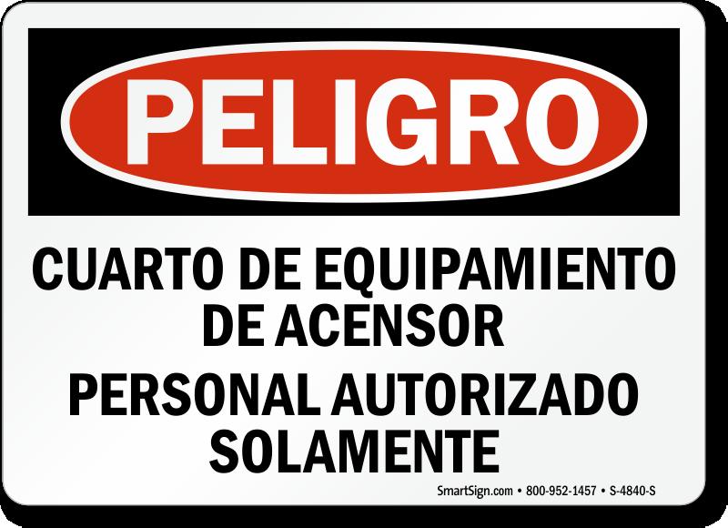 Spanish Peligro Cuarto De Equipamiento De Acensor Sign