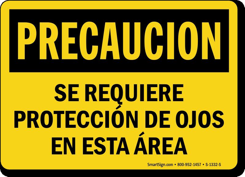 Se Requiere Proteccion De Ojos Esta Area Sign