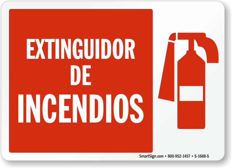 Spanish Extinguidor De Incendios, Fire Extinguisher Sign
